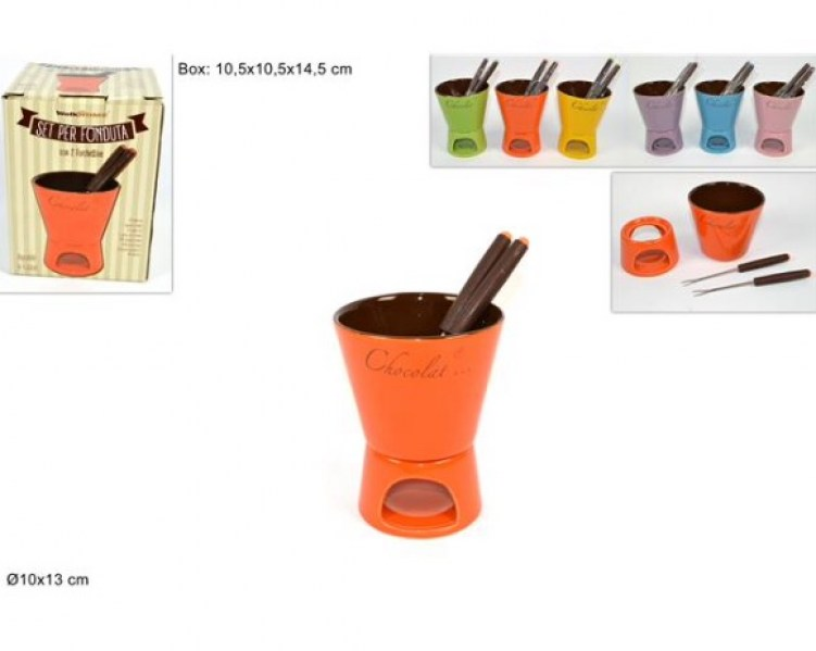 set fonduta chocolat con abbinate 2 forchettine